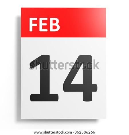 Calendar on white background. 14 February. 3D illustration. - stock photo