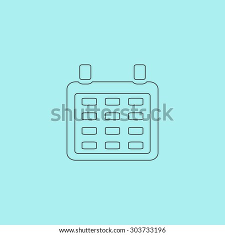 Calendar. Outline simple flat icon isolated on blue background