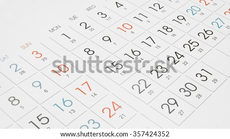 Calendar page background - stock photo