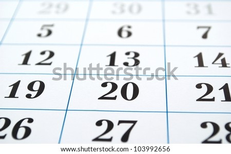 calendar page, front view and small depth of sharpness