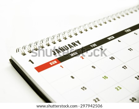 Calendar page of January - stock photo