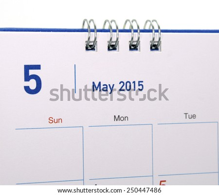 Calendar page of month 2015 - stock photo