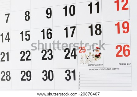 Calendar page showing December 25 Christmas Day and December 26 Boxing Day