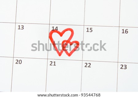 Calendar page with hearts on St.Valentines Day - stock photo