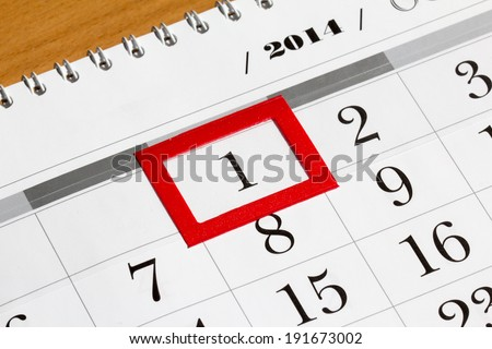 Calendar page with marked date of 2014 - stock photo