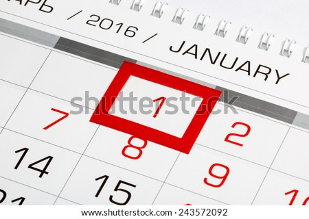 Calendar page with marked date of 1st of January 2016 - stock photo