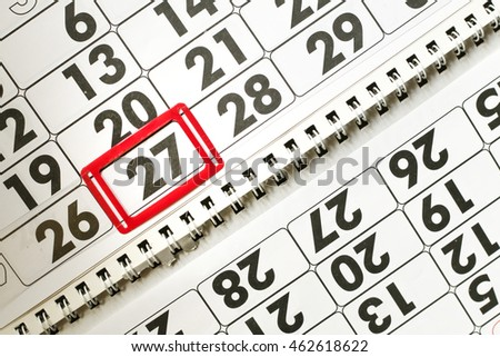 Calendar page with marked date of 27th