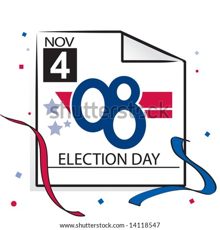 Calendar page with '08 text for US election day, November 4 2008 in JPEG/TIFF format (Image ID for vector version: 14104780) - stock photo
