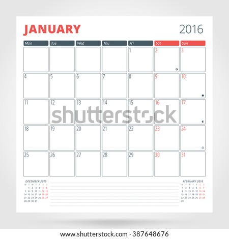Calendar Planner for 2016 Year. January. Design Print Template with Place for Photos and Notes. Week Starts Monday. Stationery Design - stock photo