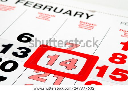Calendar pointed on St.Valentine's day - stock photo