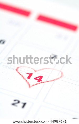 Calendar reminder 14 February St. Valentine's Day - stock photo