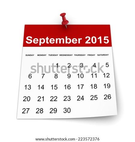 Calendar 2015 - September - stock photo