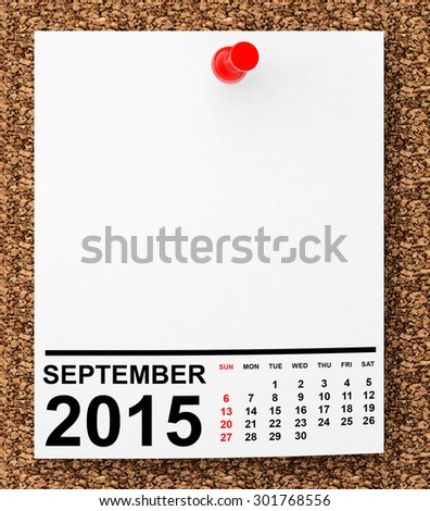 Calendar September 2015 on blank note paper with free space for your text - stock photo