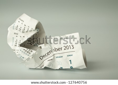 Calendar sheet. Crumpled paper on the floor - stock photo