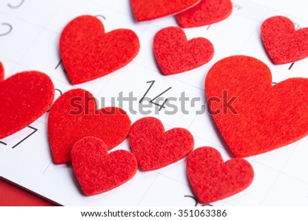 Calendar to Valentines day - stock photo