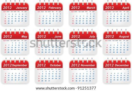 Calendar (week starts on Sunday) - stock photo