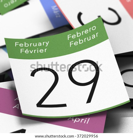 Calendar where it's written february 29th with a blue thumbtack, leap year day image - stock photo