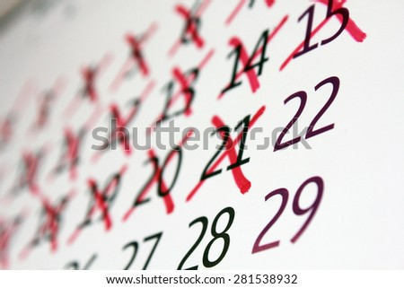 Calendar with days crossed