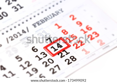 calendar with red mark on 14 February. Valentine's day concept - stock photo