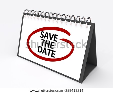 Calendar with the words save the date circled in red ink - stock photo