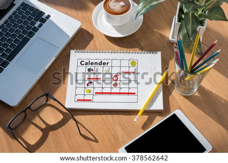 Calender Planner Organization Management Remind Concept, modern office desktop top view - stock photo