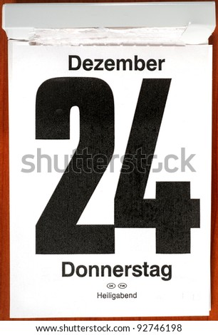Calender with December 24th - stock photo