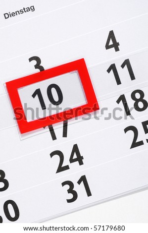 Calender with marked 10th