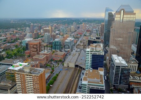 CALGARY, AB- AUGUST 03: Downtown Calgary view from Calgary Tower on August 03 2014 in Calgary, AB. Calgary has prominent buildings in a variety of styles by many famous architects. - stock photo