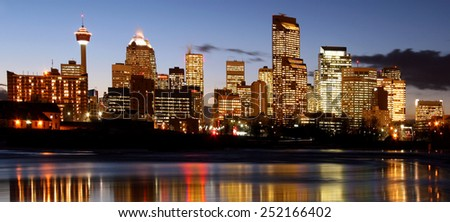 Calgary  Canada   (City by the river)  at night - stock photo