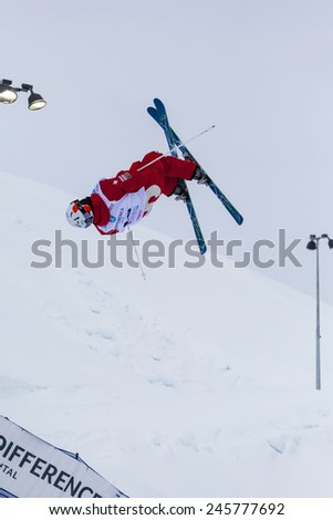 CALGARY CANADA JAN 3 2015. FIS Freestyle Ski World Cup, Winsport, Calgary Mr. Marco Tede  from Swiss  at the Mogul Free Style World Cup on race day.  - stock photo