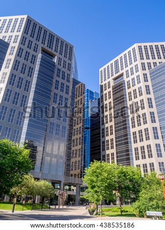 CALGARY, CANADA - JUNE 5: Modern office towers on June 5, 2016 in Calgary, Alberta. Calgary is home to many oil companies. - stock photo