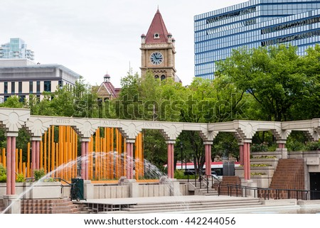 CALGARY, CANADA - JUNE 18, 2016:  The Olympic Plaza in downtown Calgary is a public urban park created in 1988 for the Winter Olympic Games medal ceremonies.
