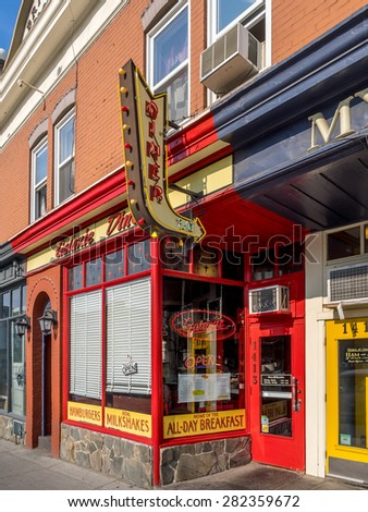 CALGARY, CANADA - MAY 24:  Galaxy Diner on May 24, 2015 in Calgary, Alberta Canada. Galaxy Diner is a trendy breakfast restaurant located in Calgary's 17th Ave district. - stock photo
