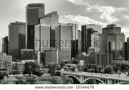 Calgary downtown. Multitude of skyscrapers and modern office building in the biggest city of Alberta, Canada. - stock photo