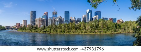 Calgary's skyline on a beautiful spring day. Calgary is the corporate centre of the oil industry in Canada. - stock photo