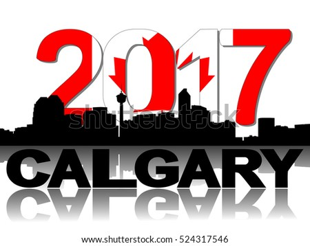 Calgary skyline 2017 flag text illustration
