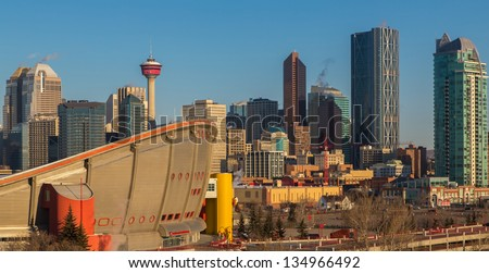 Calgary skyline in early morning. Oil companies headquarters and new development.