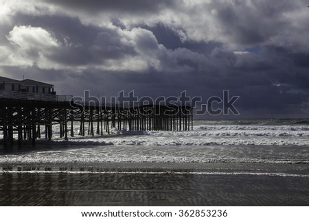 California afternoon at Pacific Beach pier - stock photo