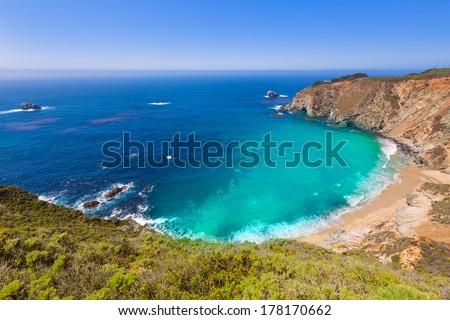 California  beach near Bixby bridge in Big Sur in Monterey County along State Route 1 US - stock photo