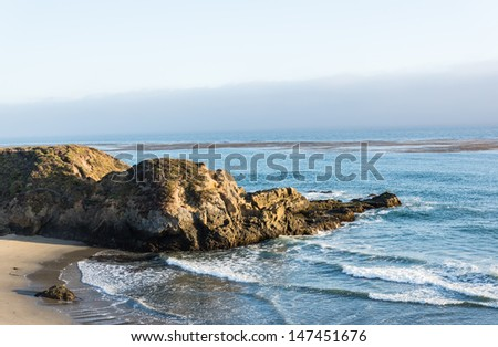 California Central coast in Cambria - sunset - stock photo