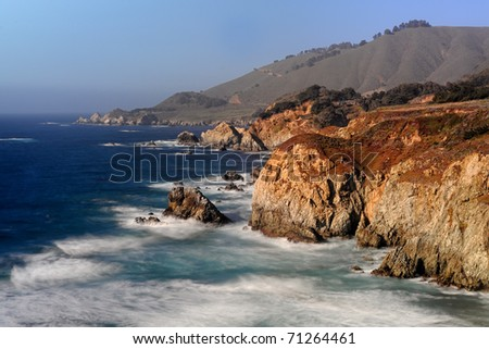 California coast from Highway 1 near Big Sur, California - stock photo