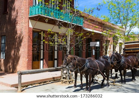 California Columbia a real old Western Gold Rush Town in USA - stock photo