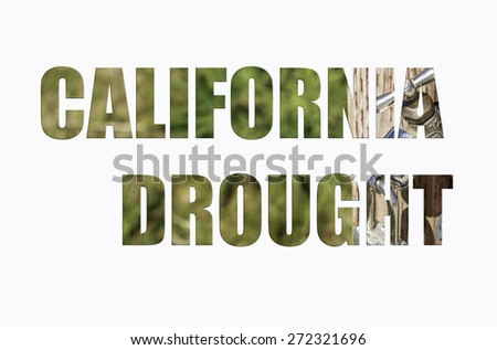 California Drought Illustration with Locked spigot in wording - stock photo