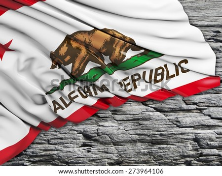 California Flag with stone - stock photo