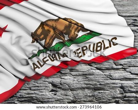 California Flag with stone - stock photo