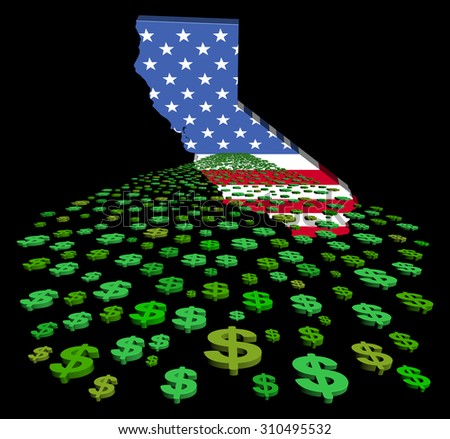 California map flag with abstract dollars illustration - stock photo