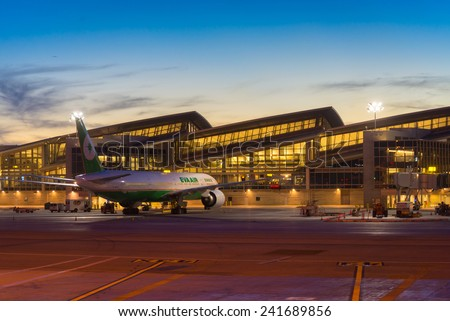 CALIFORNIA, - OCTOBER 30 : EVA AIR airplane parking at LAX airport on October 30, 2014 in California, USA.