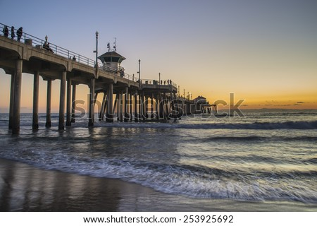 California pier at sunset - stock photo