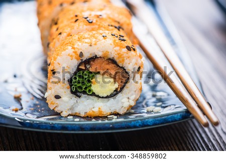 California rolls, clean eating with vibrant vegetarian food - stock photo