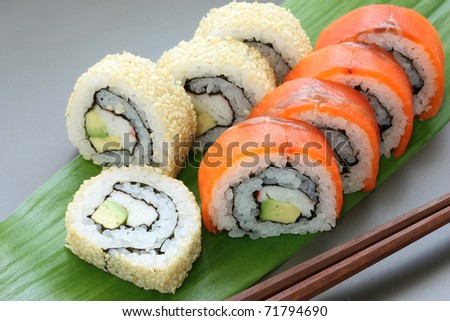 california rolls , maki sushi , japanese food - stock photo
